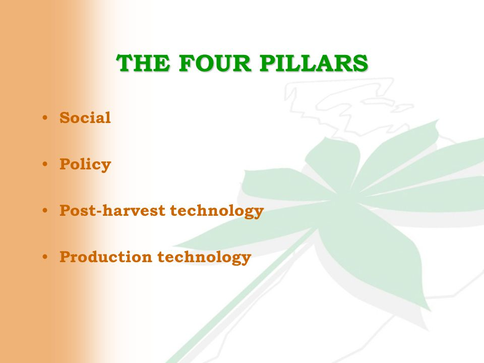 THE FOUR PILLARS Social Policy Post-harvest technology Production technology