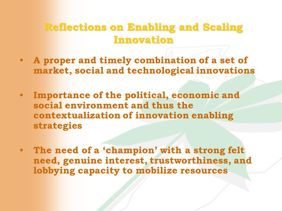Reflections on Enabling and Scaling Innovation A proper and timely combination of a set of market, social and technological innovations Importance of the political, economic and social environment and thus the contextualization of innovation enabling strategies The need of a 'champion' with a strong felt need, genuine interest, trustworthiness, and lobbying capacity to mobilize resources