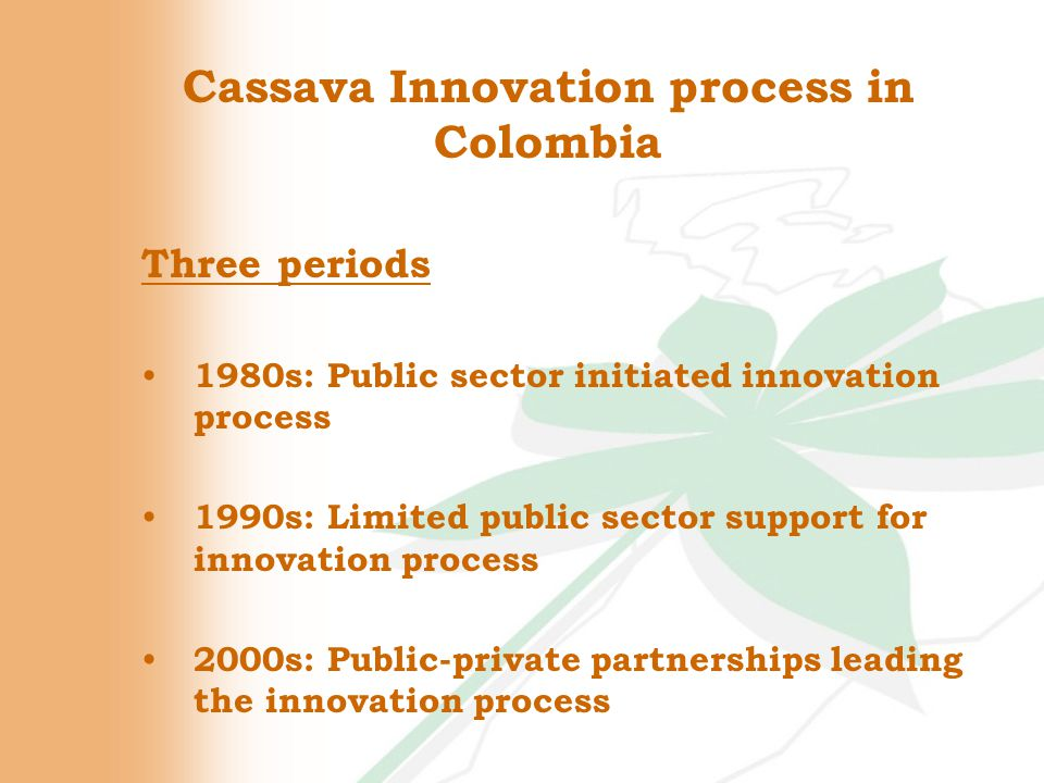 Product Champion CIAT Cassava R&D team became the product champion – defining the research agenda – providing a set of best-bet solutions – inducing the innovation process CIAT Cassava R&D team became the product champion – defining the research agenda – providing a set of best-bet solutions – inducing the innovation process