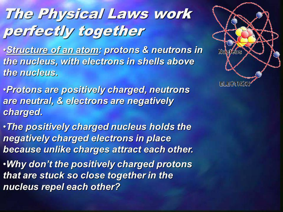 The Physical Laws work perfectly together Structure of an atom: protons & neutrons in the nucleus, with electrons in shells above the nucleus.Structur