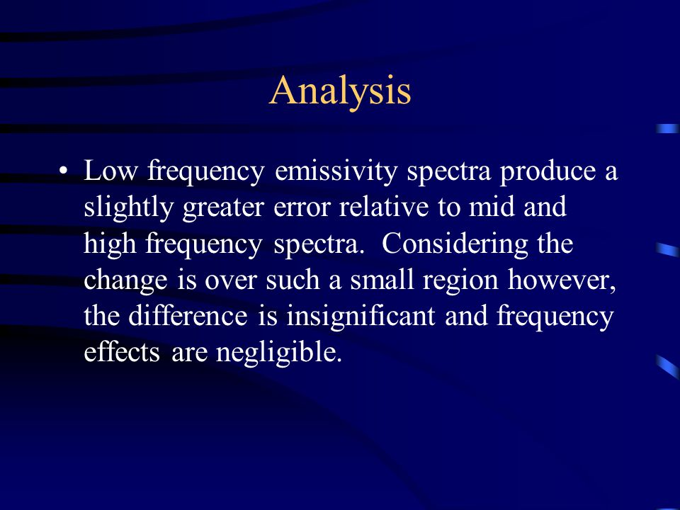 Analysis Low frequency emissivity spectra produce a slightly greater error relative to mid and high frequency spectra.