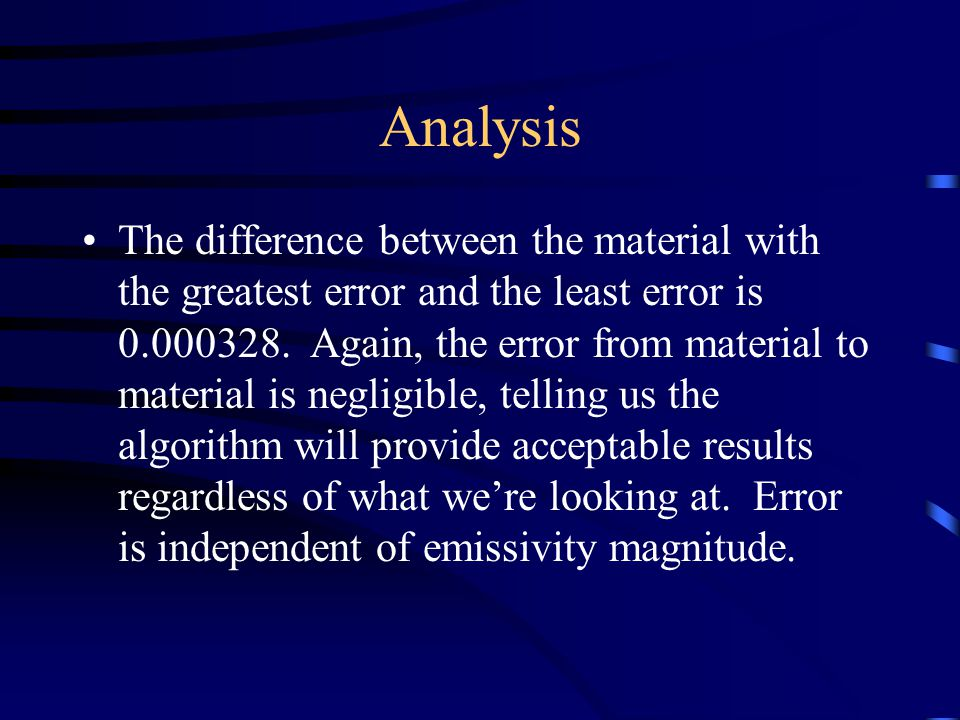 Analysis The difference between the material with the greatest error and the least error is 0.000328.