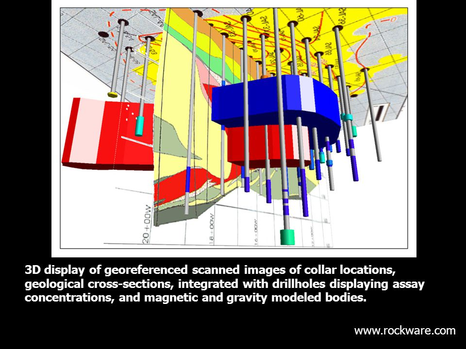 3D display of georeferenced scanned images of collar locations, geological cross-sections, integrated with drillholes displaying assay concentrations,