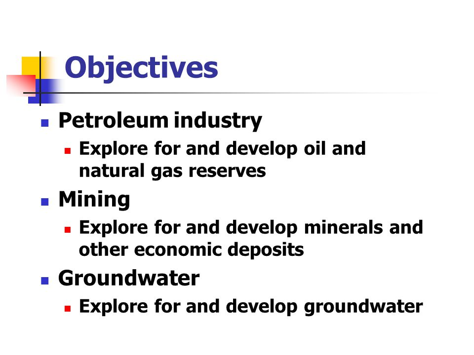 Objectives Waste disposal Find suitable repositories for waste Environmental remediation Geotechnical engineering Locate and map the distribution of layers with specific properties Academic studies Structure, stratigraphy Etc.