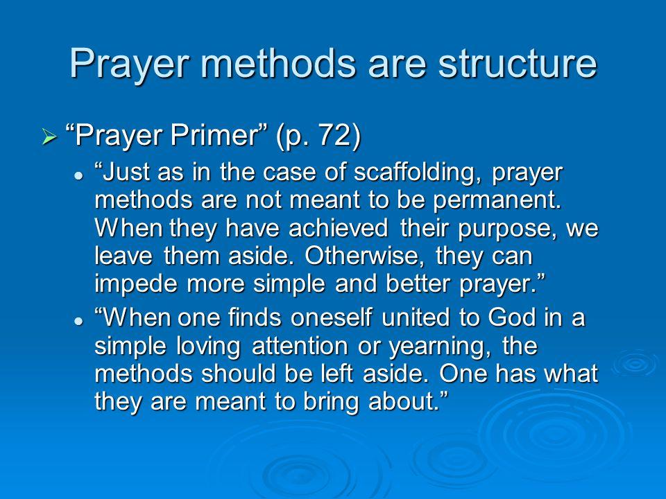 Prayer methods are structure  Prayer Primer (p.