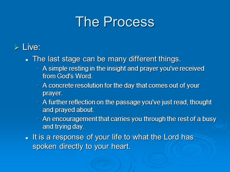 The Process  Live: The last stage can be many different things.