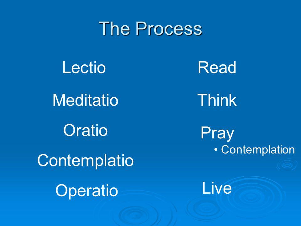 The Process Lectio Meditatio Oratio Contemplatio Read Think Pray Contemplation Operatio Live