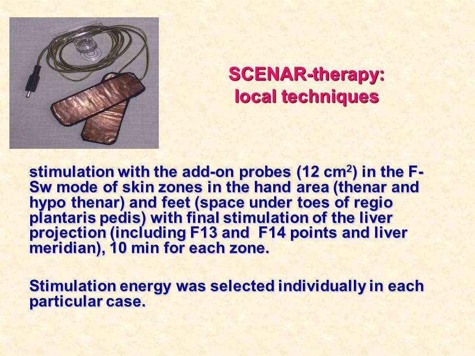 SCENAR-therapy: local techniques stimulation with the add-on probes (12 сm 2 ) in the F- Sw mode of skin zones in the hand area (thenar and hypo thena