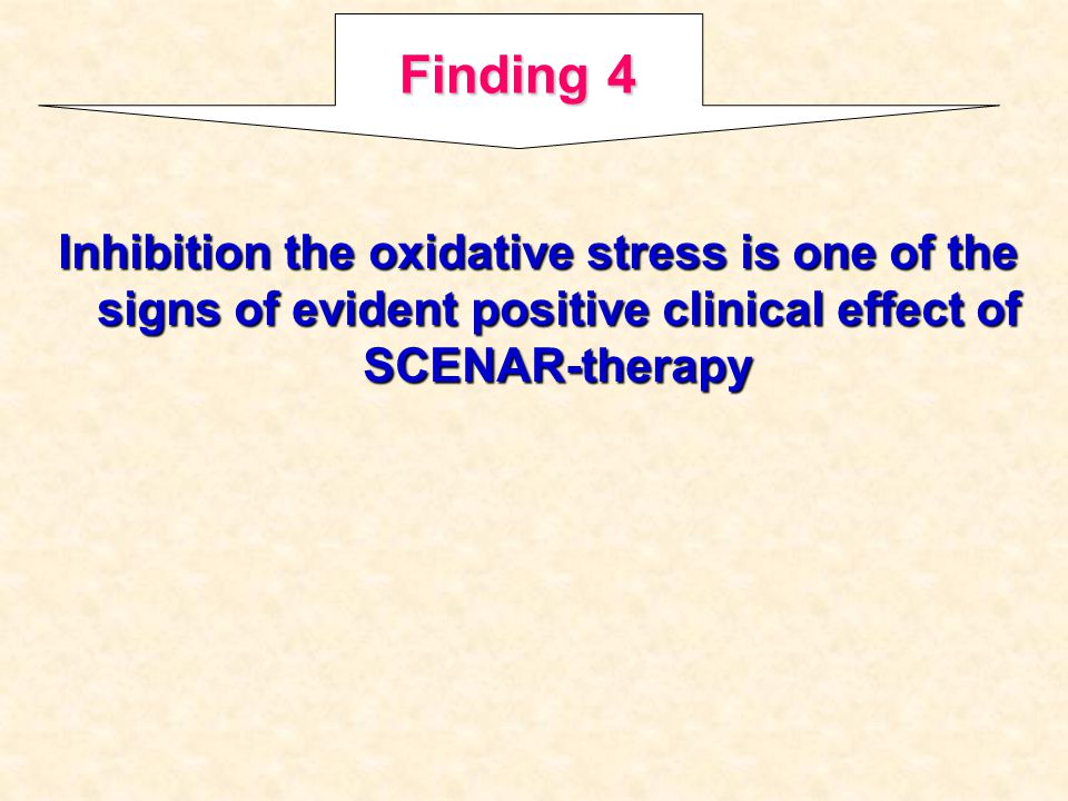 Inhibition the oxidative stress is one of the signs of evident positive clinical effect of SCENAR-therapy Finding 4