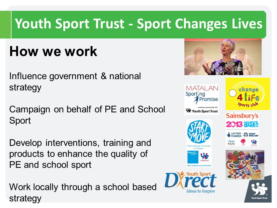 Youth Sport Trust - Sport Changes Lives How we work Influence government & national strategy Campaign on behalf of PE and School Sport Develop interve