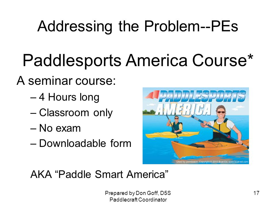 Us—as often seen by Paddlers Prepared by Don Goff, D5S Paddlecraft Coordinator 16