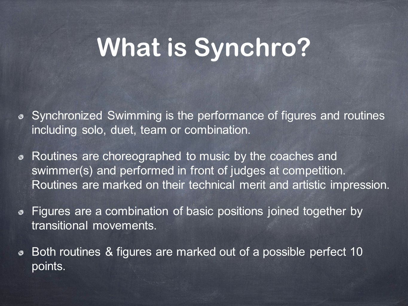 The Figures Meet Figures are the technical component of a synchro competition where a combination of basic positions are joined together by transitional movements Figures are not swum to music Only athletes 18&Under compete figures Each age group has their own set of unique figures that include 2 compulsory figures and 3 optional figure groups Each optional figure group has 2 figures
