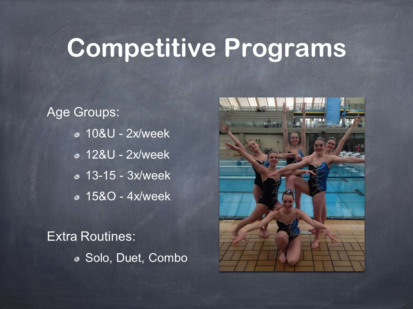 Review Through these learning modules you now know more about: What is Synchro Preparing for Meets Competitions Judging Parent & Swimmer Behaviour