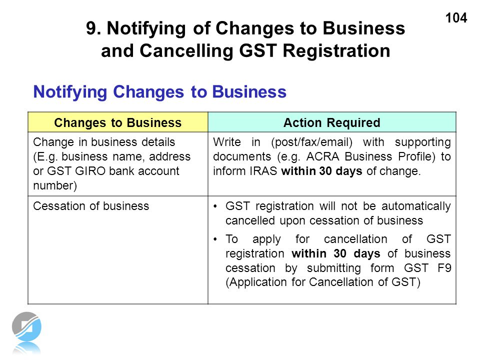 104 Notifying Changes to Business Changes to BusinessAction Required Change in business details (E.g. business name, address or GST GIRO bank account