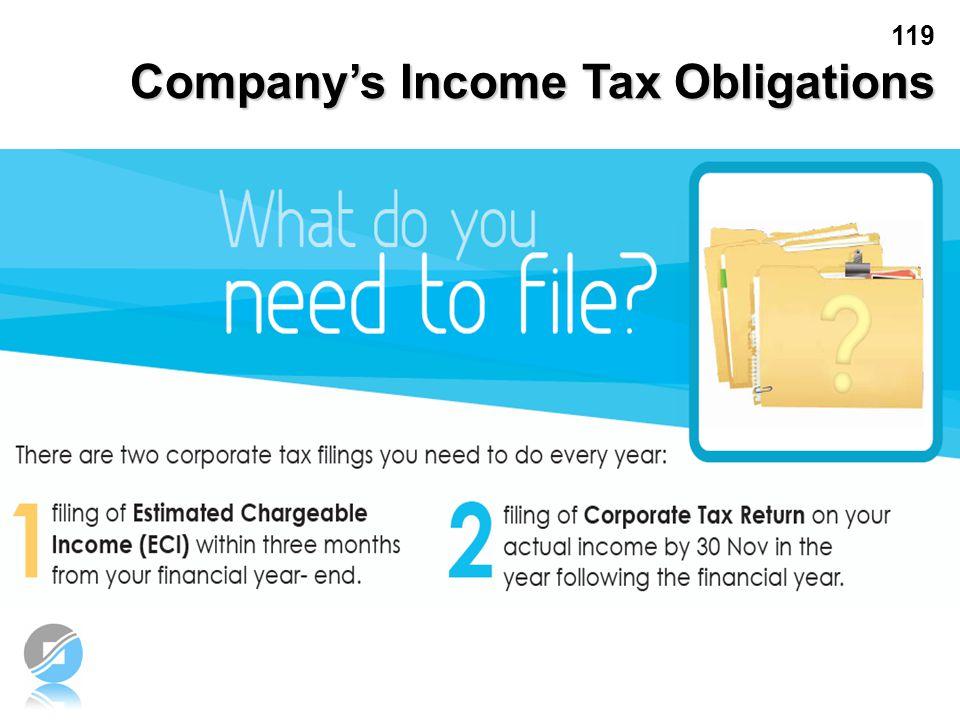 119 Company's Income Tax Obligations