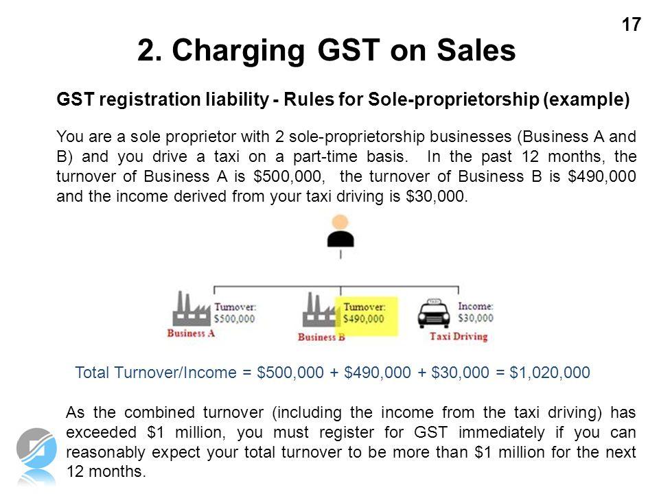 17 GST registration liability - Rules for Sole-proprietorship (example) You are a sole proprietor with 2 sole-proprietorship businesses (Business A an