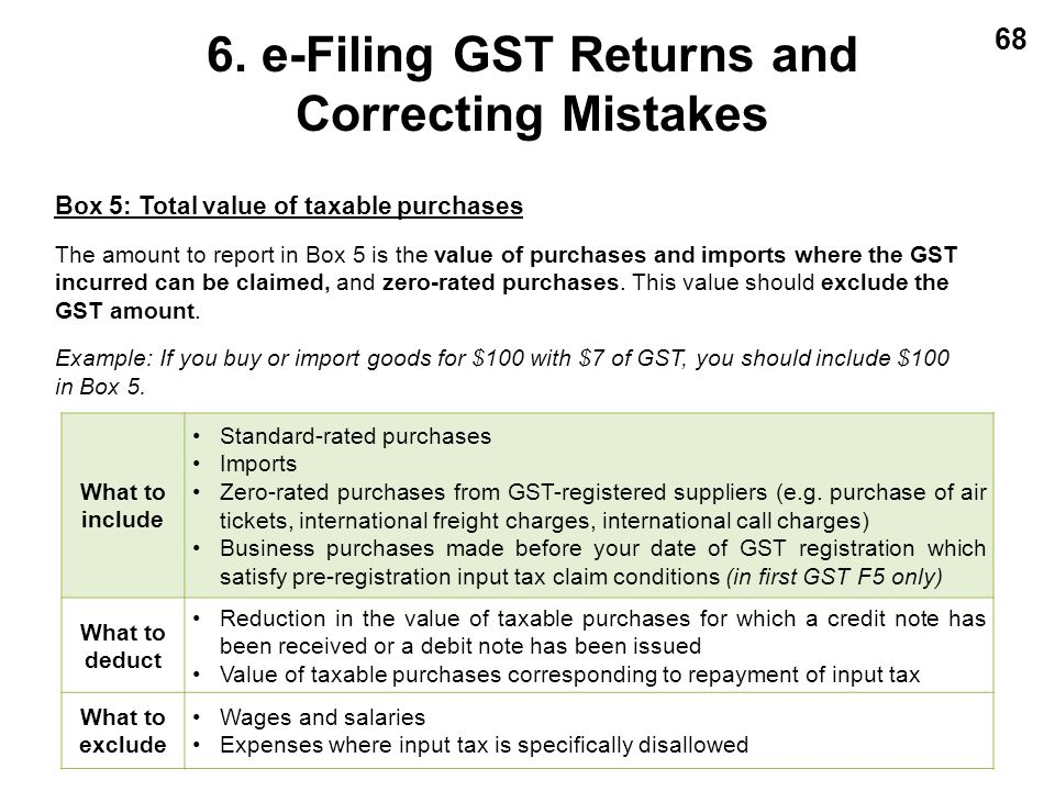 68 Box 5: Total value of taxable purchases The amount to report in Box 5 is the value of purchases and imports where the GST incurred can be claimed,