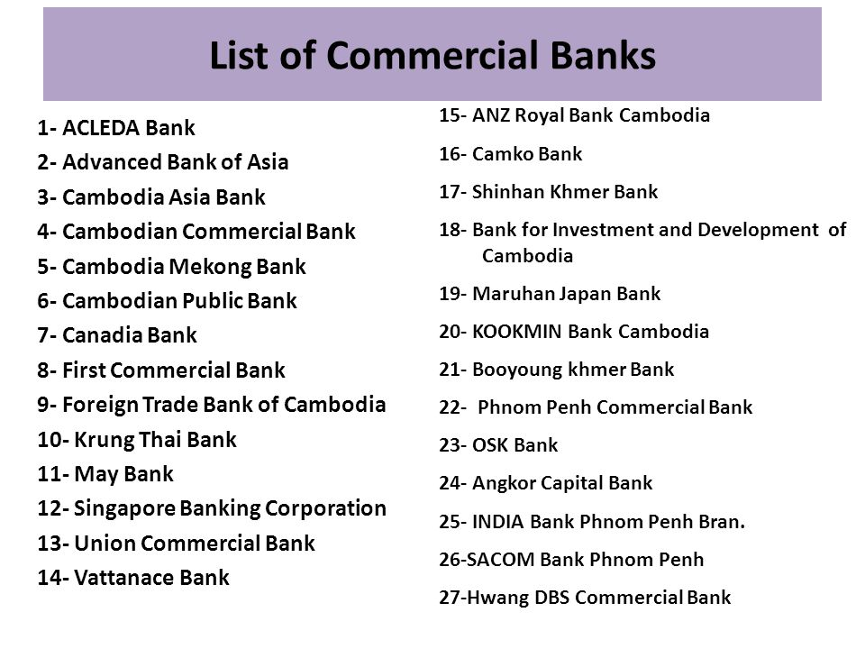 List of Commercial Banks 1- ACLEDA Bank 2- Advanced Bank of Asia 3- Cambodia Asia Bank 4- Cambodian Commercial Bank 5- Cambodia Mekong Bank 6- Cambodi