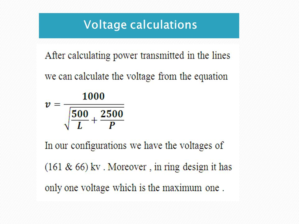 Voltage calculations