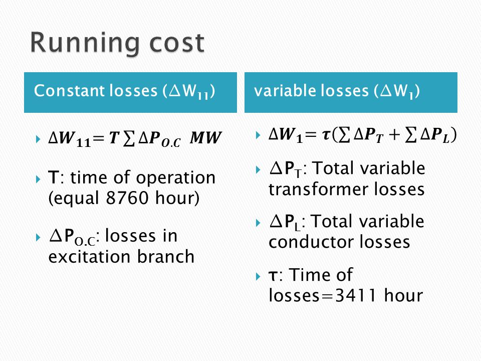 Constant losses (∆W 11 )variable losses (∆W 1 )