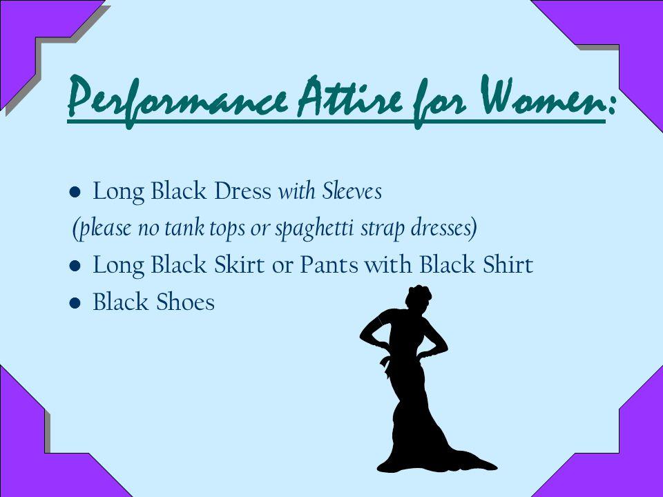 Performance Attire for Men: Tuxedo or Black Suit White Shirt Black Bow Tie Black Socks and Shoes