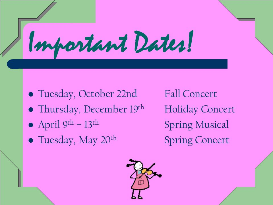 After School Rehearsals: Prior to each concert there will be at least 2 after school rehearsals Attendance is required at these rehearsals.