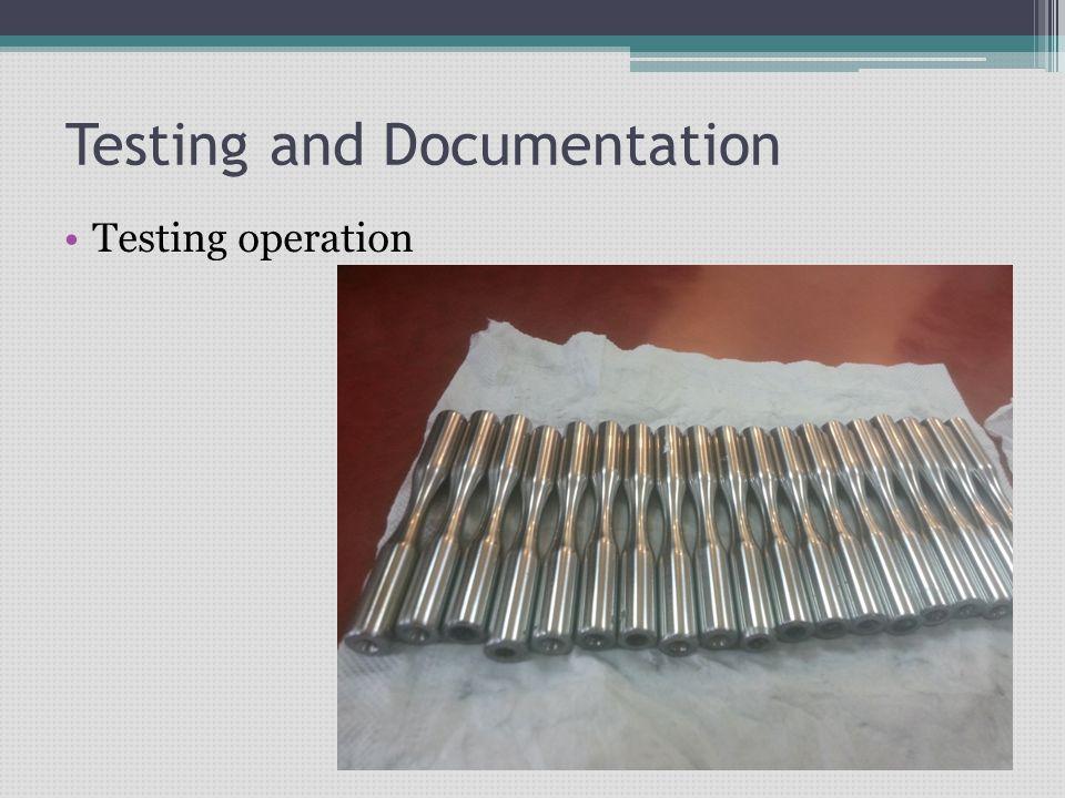 Testing and Documentation Testing operation