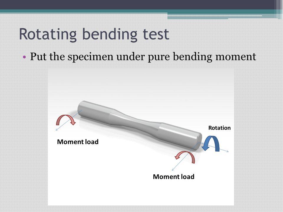 Rotating bending test Put the specimen under pure bending moment