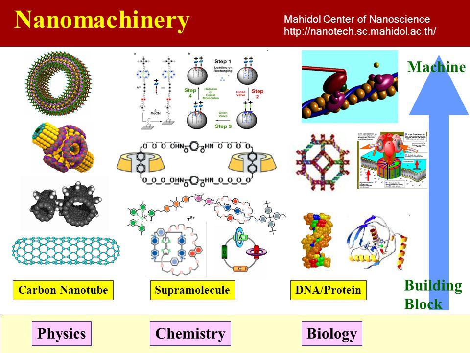 Nanomachinery Mahidol Center of Nanoscience http://nanotech.sc.mahidol.ac.th/ Building Block PhysicsChemistryBiology Machine Carbon NanotubeSupramolec