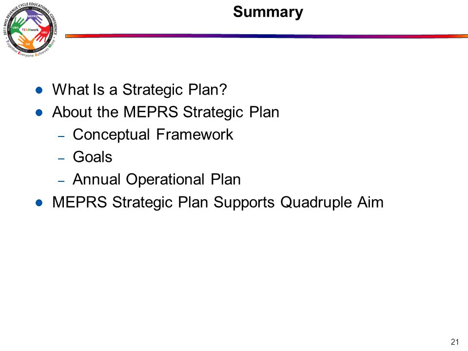 Summary 21 What Is a Strategic Plan.