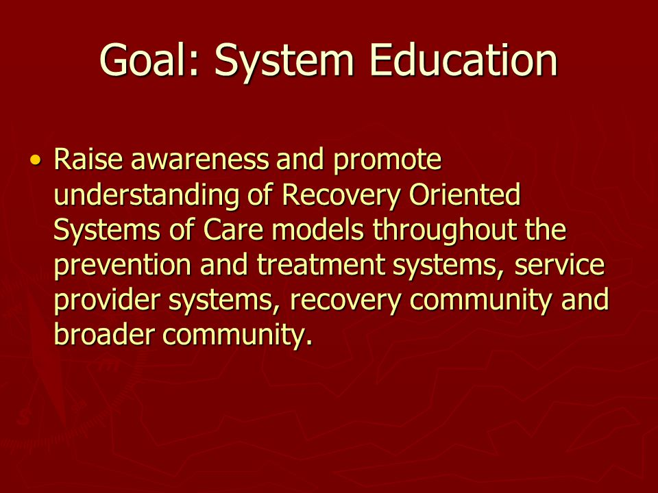 Goal: System Education Raise awareness and promote understanding of Recovery Oriented Systems of Care models throughout the prevention and treatment systems, service provider systems, recovery community and broader community.Raise awareness and promote understanding of Recovery Oriented Systems of Care models throughout the prevention and treatment systems, service provider systems, recovery community and broader community.