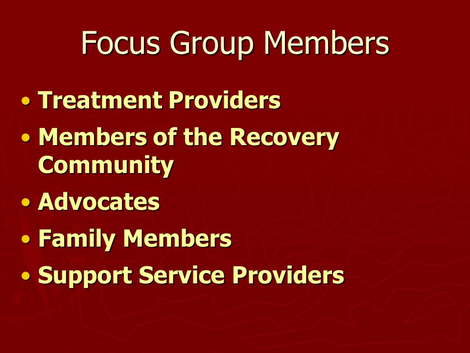 Focus Group Members Treatment ProvidersTreatment Providers Members of the Recovery CommunityMembers of the Recovery Community AdvocatesAdvocates Family MembersFamily Members Support Service ProvidersSupport Service Providers