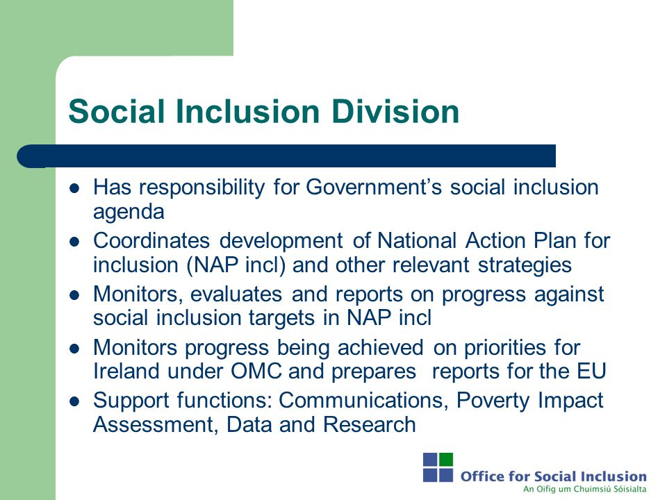 Social Inclusion Division Has responsibility for Government's social inclusion agenda Coordinates development of National Action Plan for inclusion (N