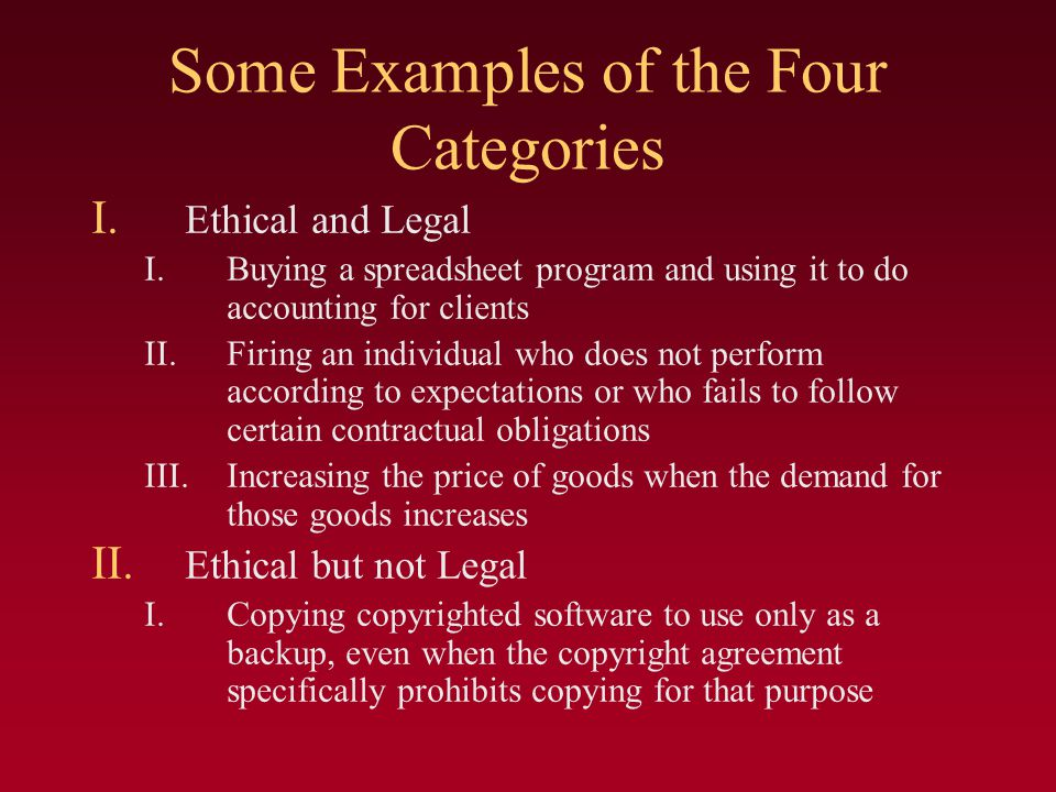 Some Examples of the Four Categories I.