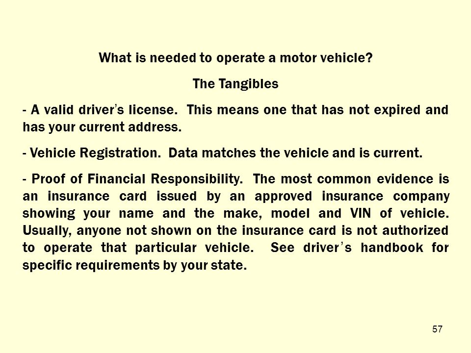 WHAT DO YOU NEED TO OPERATE A MOTOR VEHICLE.