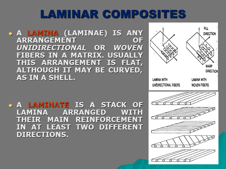 LAMINAR COMPOSITES  A LAMINA (LAMINAE) IS ANY ARRANGEMENT OF UNIDIRECTIONAL OR WOVEN FIBERS IN A MATRIX. USUALLY THIS ARRANGEMENT IS FLAT, ALTHOUGH I