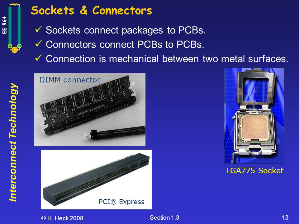 Interconnect Technology EE 564 © H. Heck 2008 Section 1.313 Sockets & Connectors Sockets connect packages to PCBs. Connectors connect PCBs to PCBs. Co