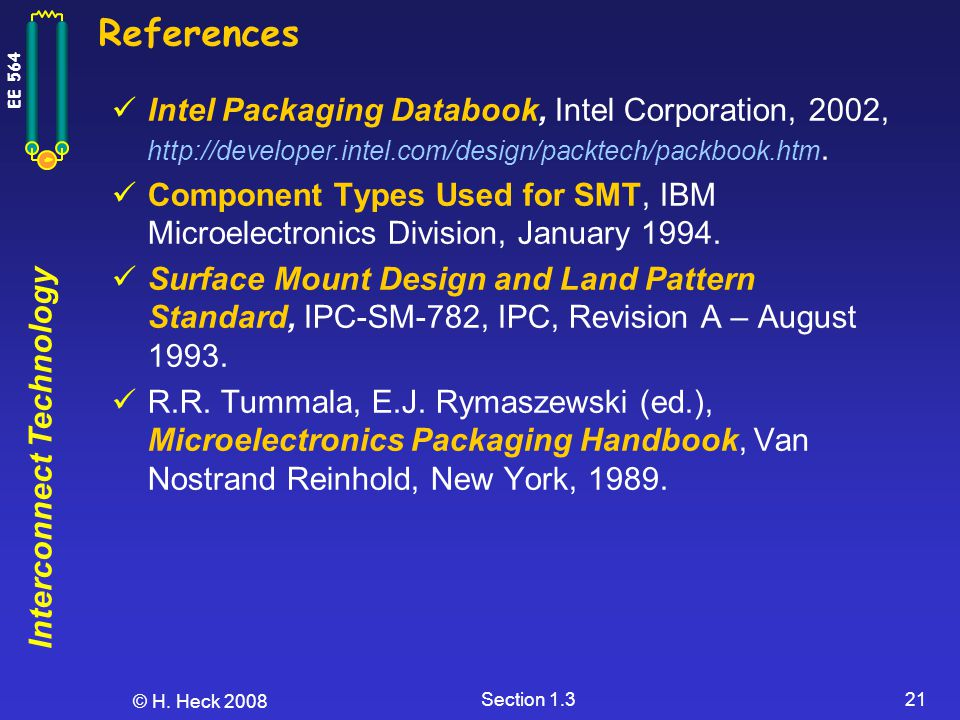 Interconnect Technology EE 564 © H. Heck 2008 Section 1.321 References Intel Packaging Databook, Intel Corporation, 2002, http://developer.intel.com/d