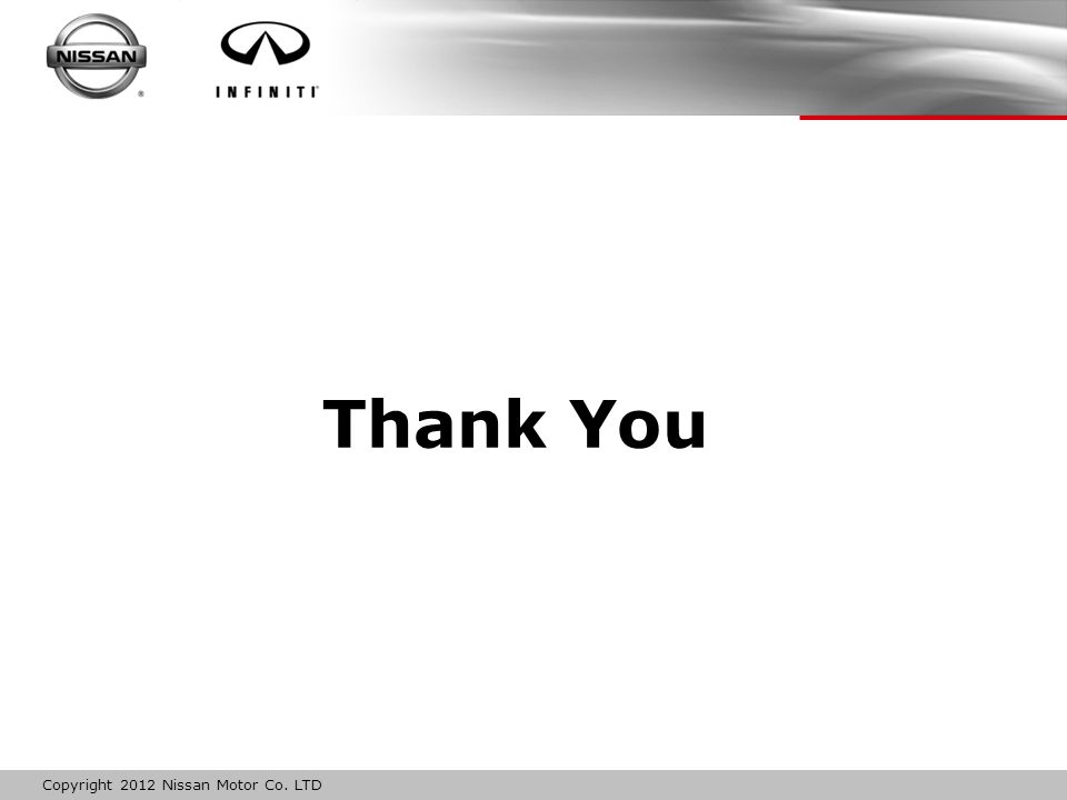 Copyright 2012 Nissan Motor Co. LTD Thank You