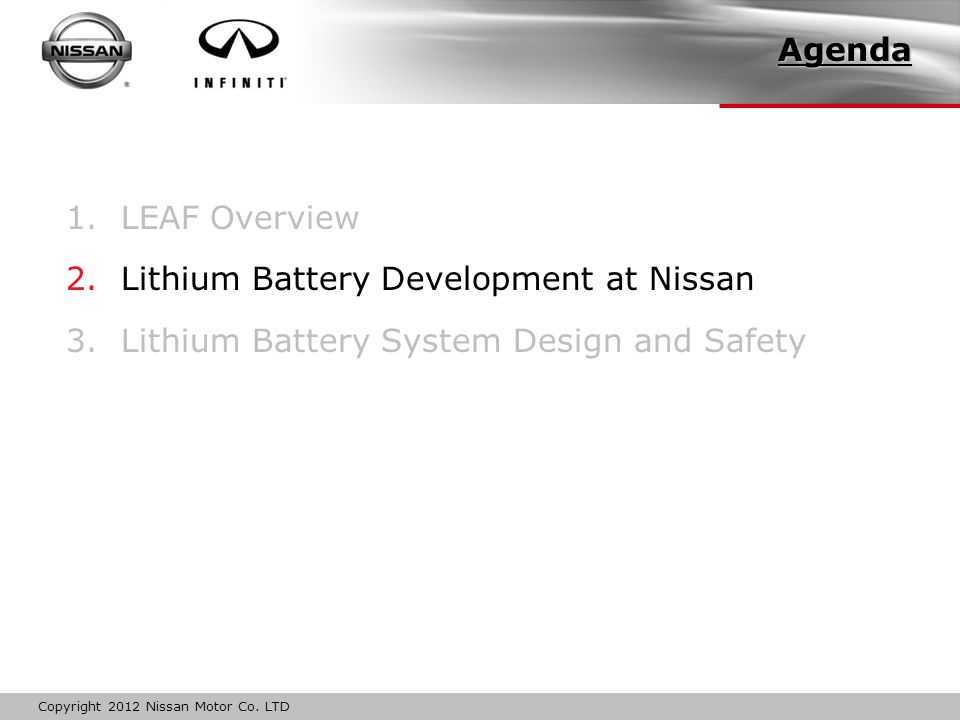 Copyright 2012 Nissan Motor Co.