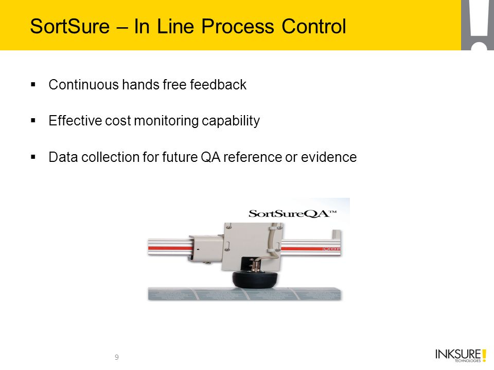 SortSure – In Line Process Control  Continuous hands free feedback  Effective cost monitoring capability  Data collection for future QA reference o