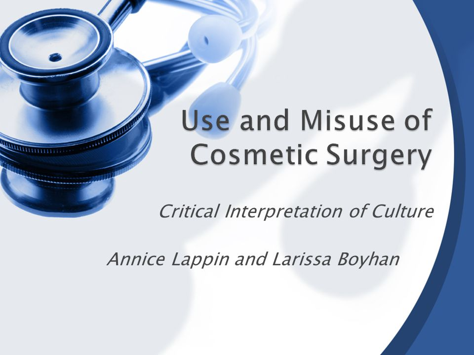 This presentation examines the use of cosmetic surgery and critically examines and evaluates the cultural influences behind this.