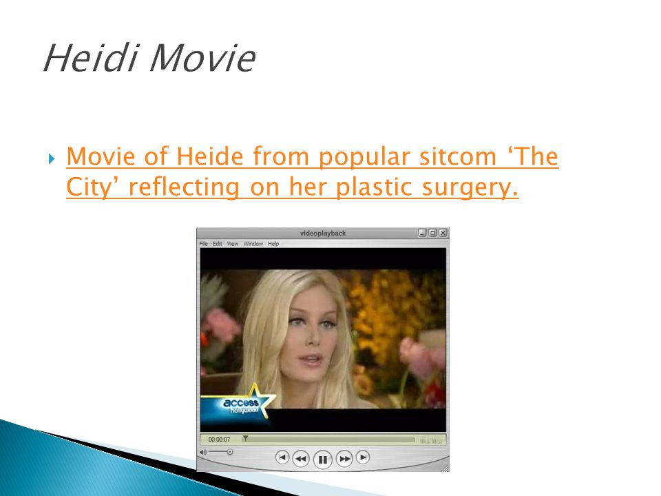  Movie of Heide from popular sitcom 'The City' reflecting on her plastic surgery.