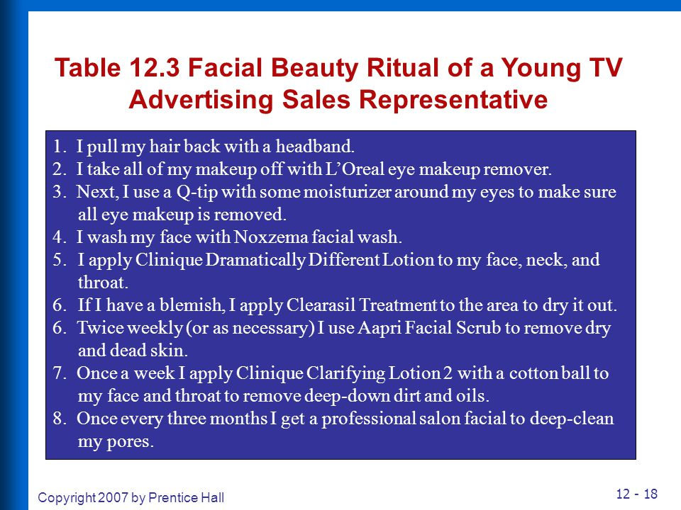 12 - 18 Copyright 2007 by Prentice Hall Table 12.3 Facial Beauty Ritual of a Young TV Advertising Sales Representative 1. I pull my hair back with a h