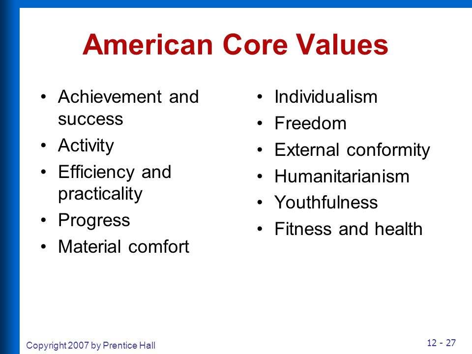 12 - 27 Copyright 2007 by Prentice Hall American Core Values Achievement and success Activity Efficiency and practicality Progress Material comfort In