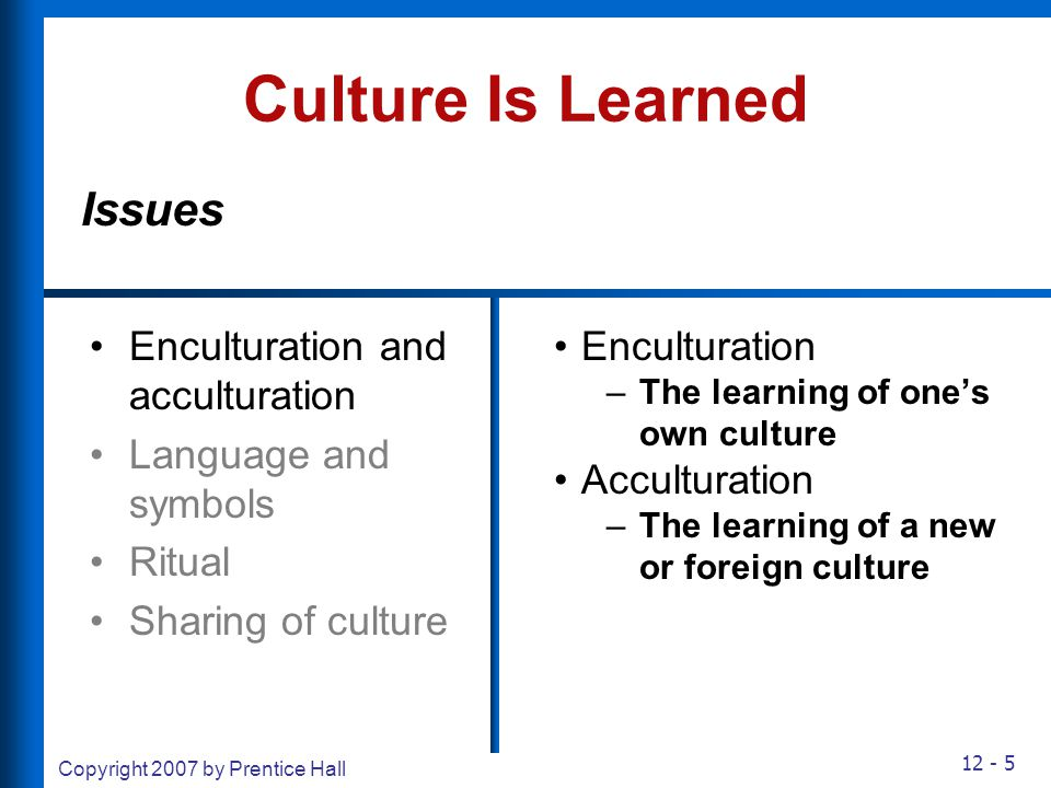 12 - 5 Copyright 2007 by Prentice Hall Culture Is Learned Enculturation and acculturation Language and symbols Ritual Sharing of culture Enculturation
