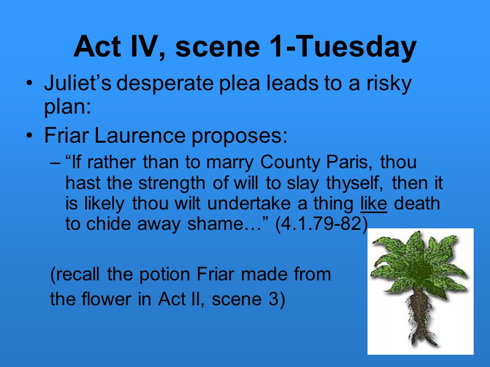 "Act IV, scene 1-Tuesday Juliet's desperate plea leads to a risky plan: Friar Laurence proposes: –""If rather than to marry County Paris, thou hast the"