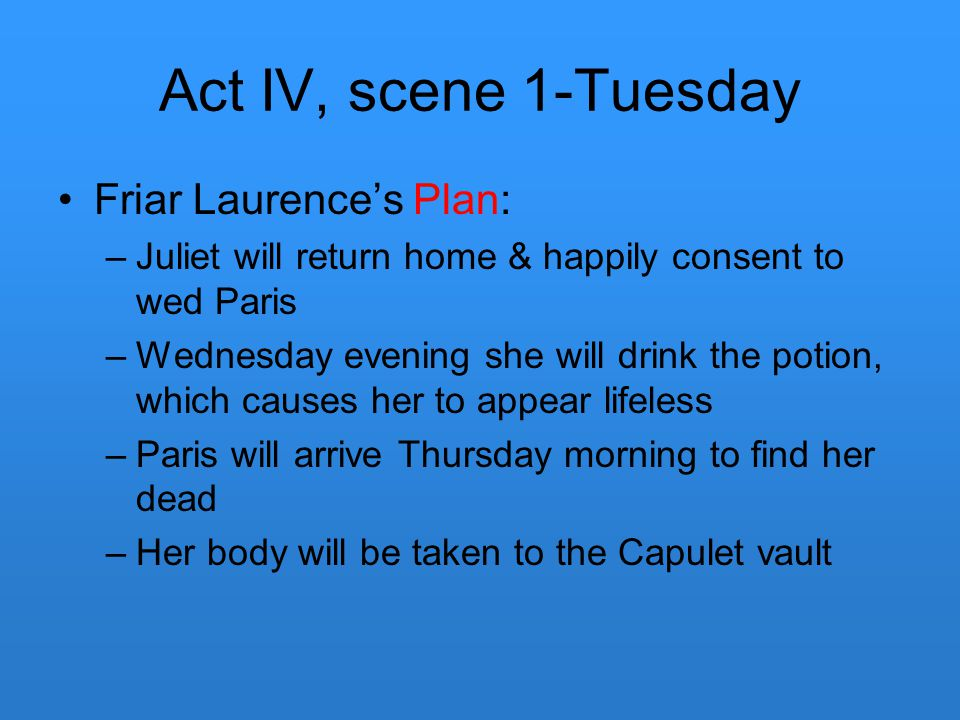 Act IV, scene 1-Tuesday Friar Laurence's Plan: –Juliet will return home & happily consent to wed Paris –Wednesday evening she will drink the potion, w