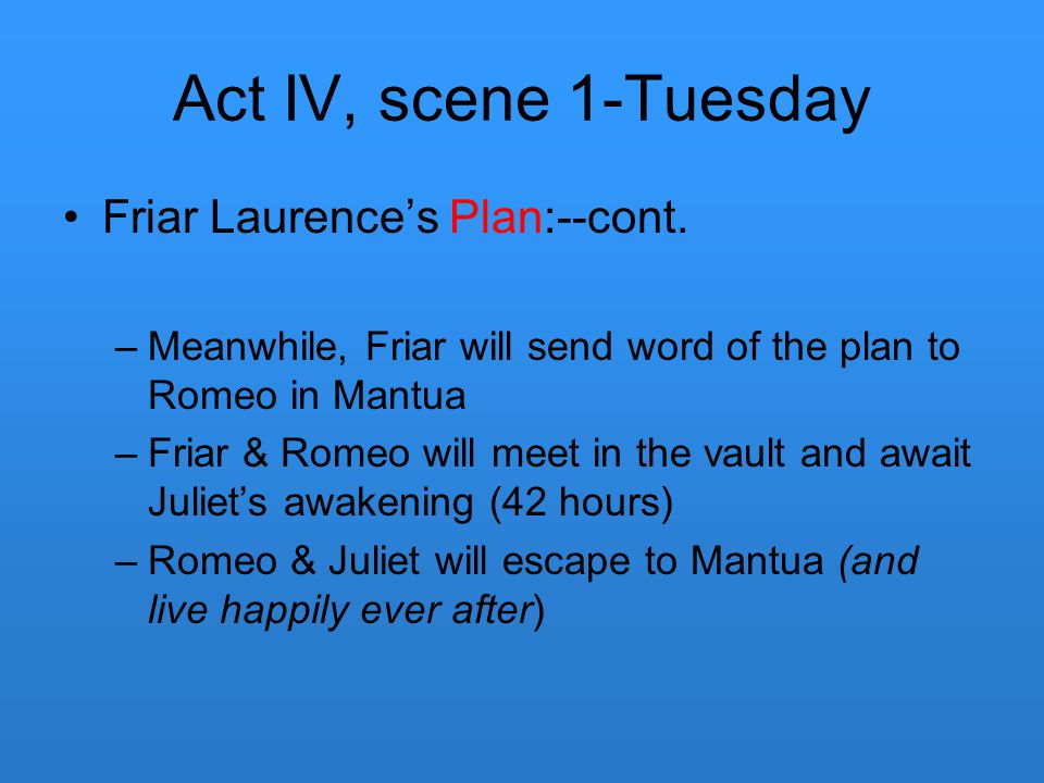 Act IV, scene 1-Tuesday Friar Laurence's Plan:--cont. –Meanwhile, Friar will send word of the plan to Romeo in Mantua –Friar & Romeo will meet in the