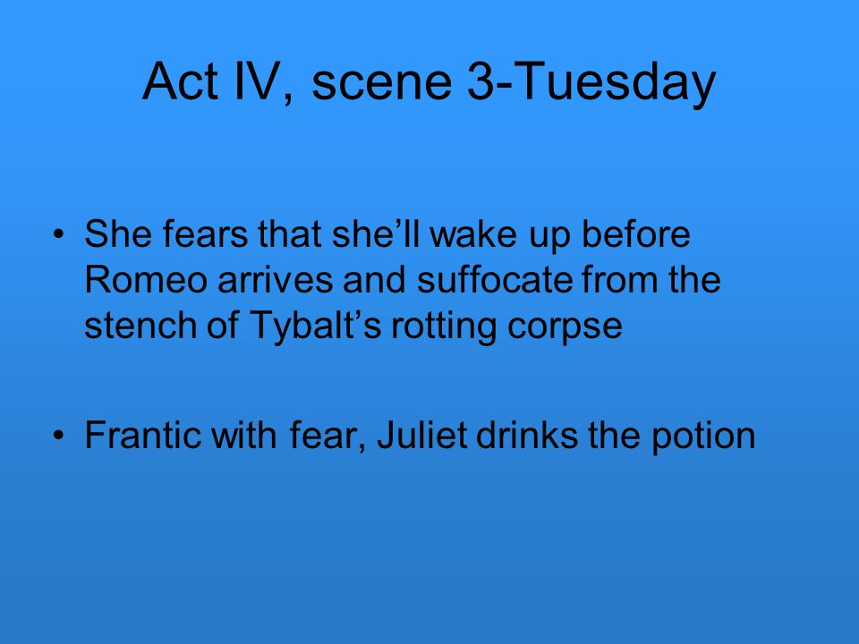 Act IV, scene 3-Tuesday She fears that she'll wake up before Romeo arrives and suffocate from the stench of Tybalt's rotting corpse Frantic with fear,